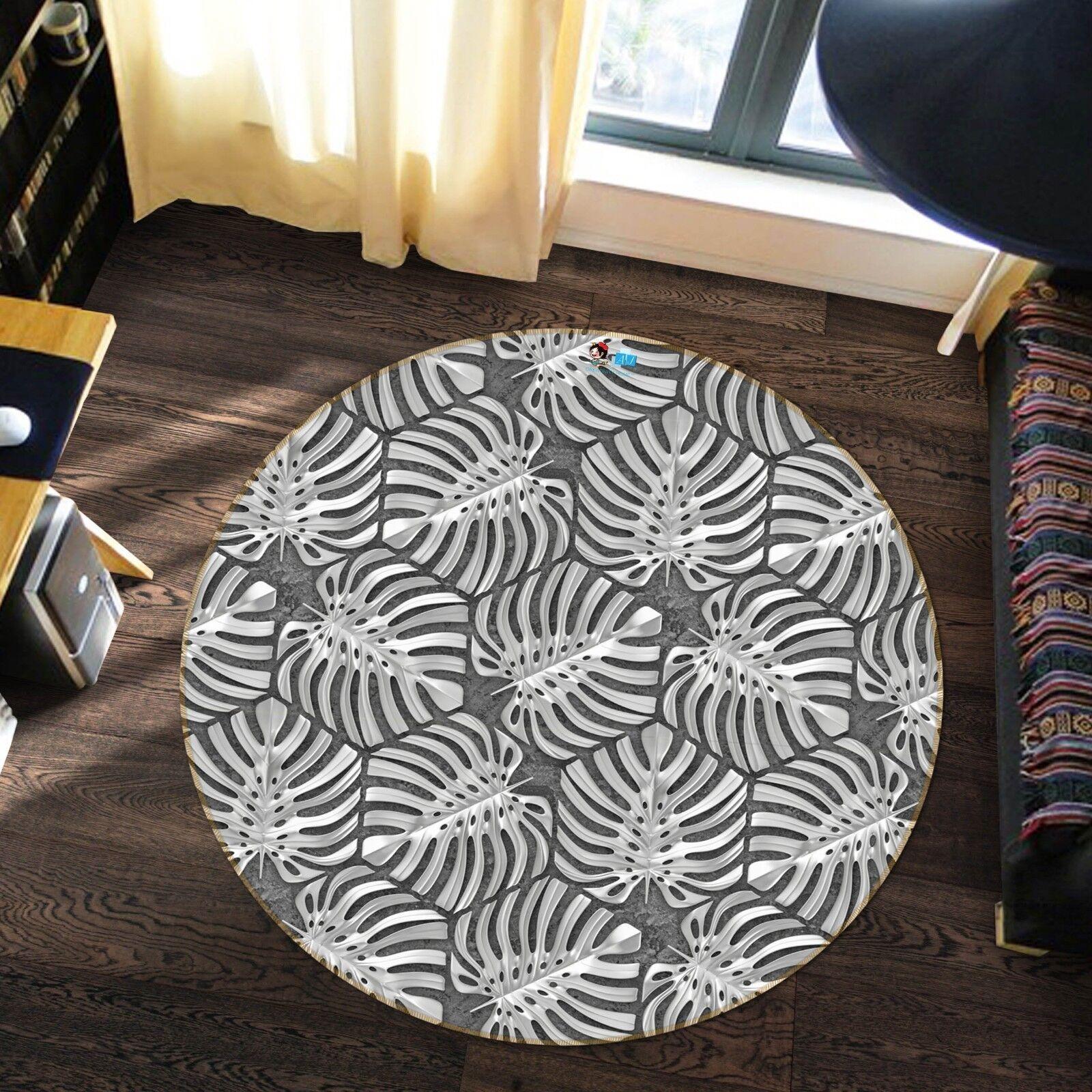 3D Schwarz Weiße Blätter 2 Teppich Rutschfest Teppich 2 Raum Matte ...