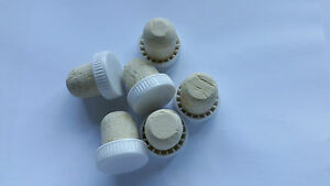 Plastic Wine Bottle Corks / Stoppers - White - Pack Of 6 (Flanged)