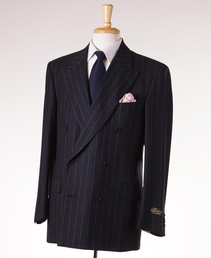 NWT 3995 D'AVENZA Charcoal grau Chalkstripe Flannel Wool Suit 40 R Classic-Fit