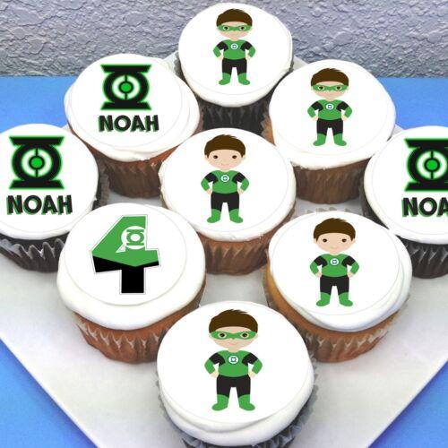 "2/"" Sheet of 15 PRE-CUT Green Lantern Edible Icing Cupcake Toppers"