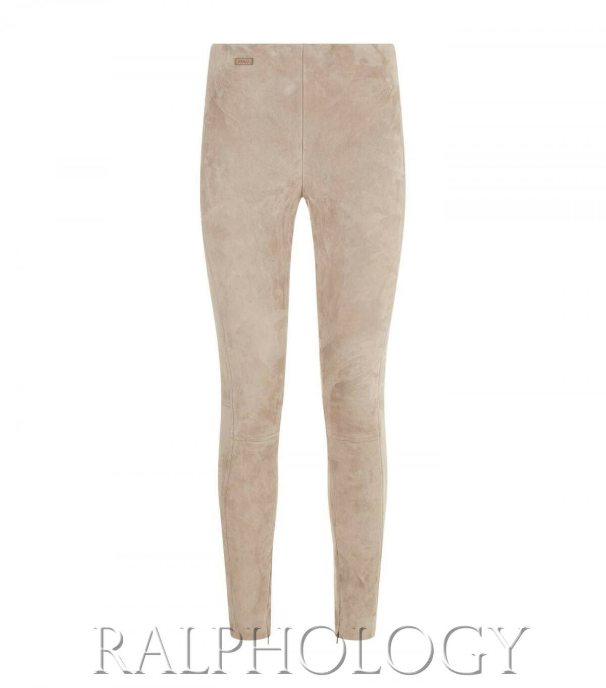 998 Polo Ralph Lauren damen Taupe Leather Suede Leland Legging Pant Pants NWT