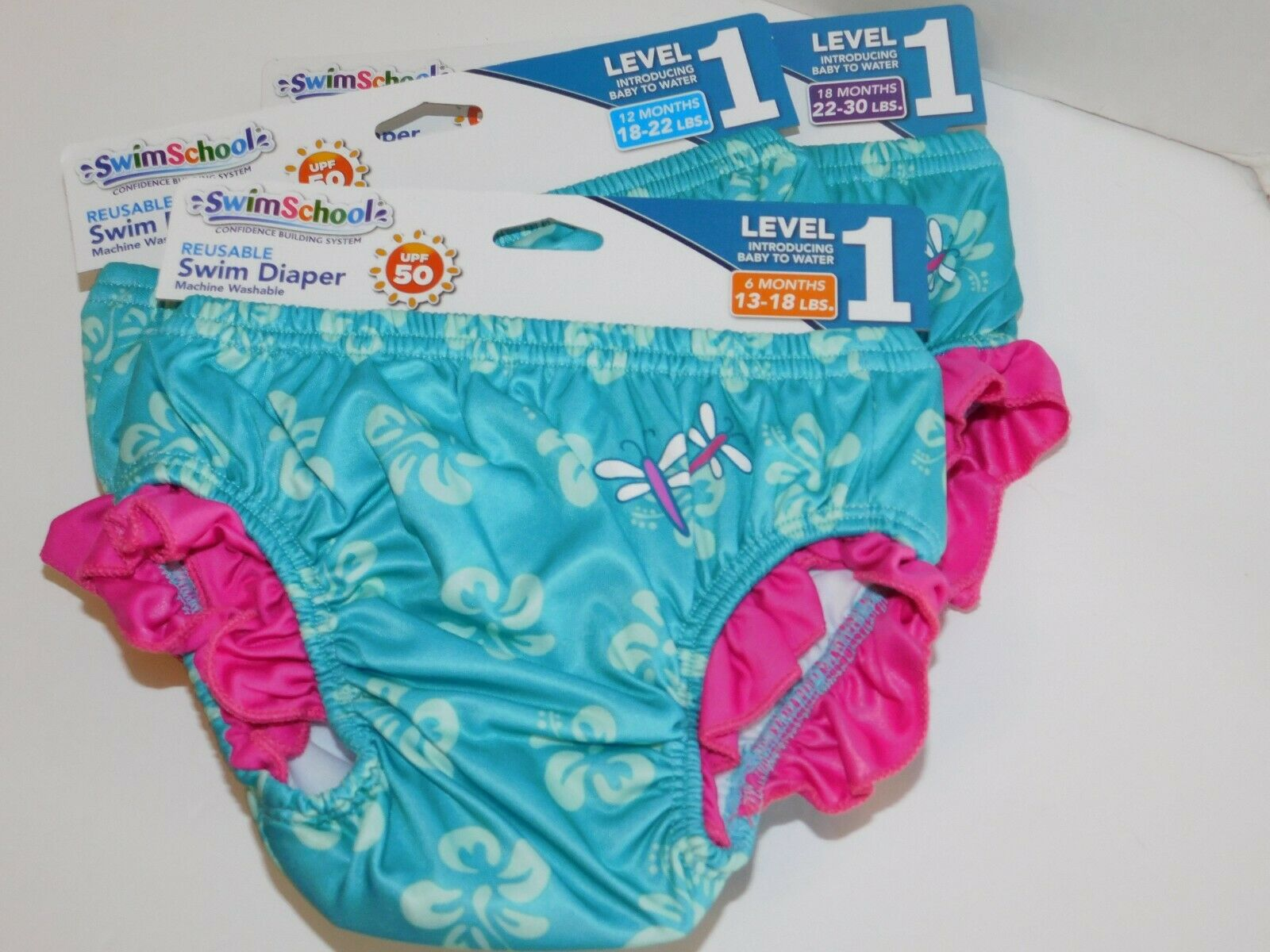 Swim School Reusable UPF 50 Girls Swim Diaper Training Pants 12 mo