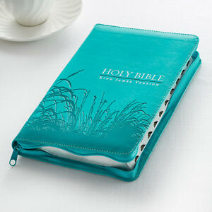 KJV-HOLY-BIBLE-KING-JAMES-VERSION-AQUA-THUMB-INDEX-ZIPPERED-RED-LETTER