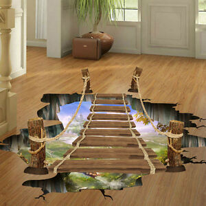 3D Hanging Wooden Bridge Floor Wall Decals Stickers Art Home Room