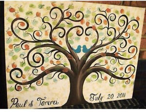 Image Is Loading Reunion Wedding Guestbook Tree 18 X 24 Thumbprint
