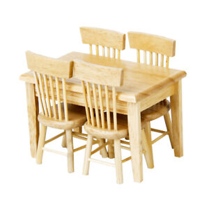 1Set 1//12 Dollhouse Miniature Dining Table Chair Doll House Wooden Furniture ~QA