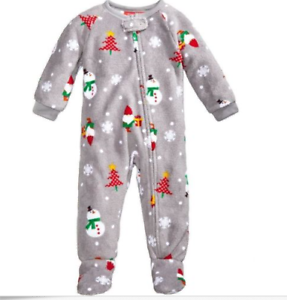 29d752b747 Macy s Family PJs Gray Snowman XMAS Toddler Kids Footed Pajamas 12mo ...