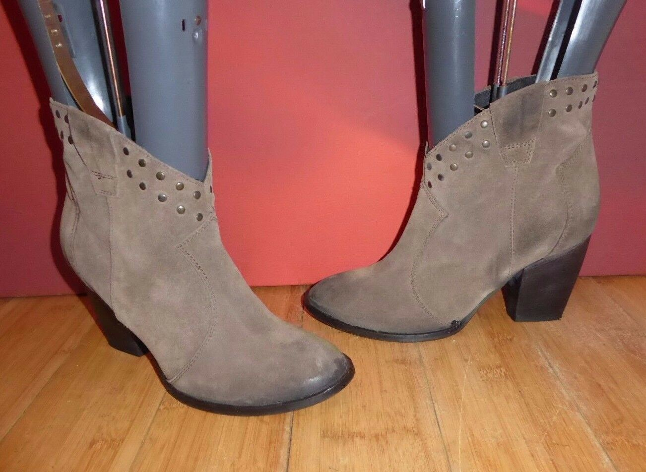 *11* SUPERB PIED A TERRE BROWN SUEDE LEATHER  STUD COWBOY ANKLE BOOTS UK 6 EU 39