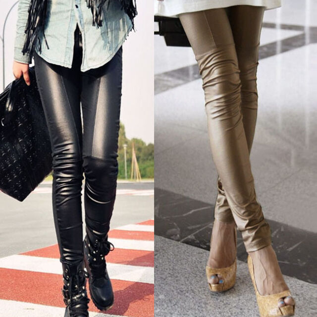 Sexy Ladies Women's Faux Leather Leggings Skinny Trouser Tight