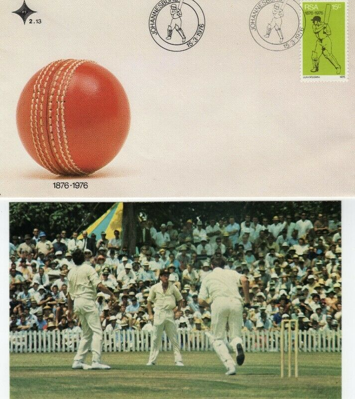 Commemorative Stamp & Envelope Set - History of Cricket in South Africa 1976