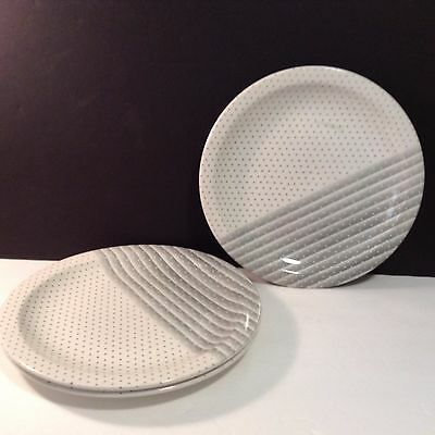 Churchill Polka Dot Dinner Plate with Stripes Striped Gray Set of 3 Lovely