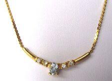 collier bijou vintage année 70 plaqué or au centre cristaux aigue marine 384