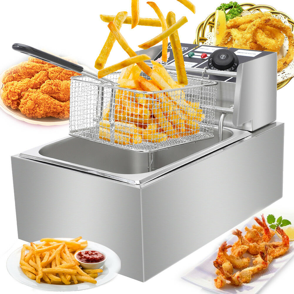 13L Commercial Restaurant Electric Deep Fryer Stainless Steel w// Timer Drain EK