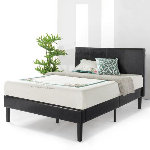 Faux Leather Upholstered Modern Platform Bed with Foam Headboard FINAL SALE