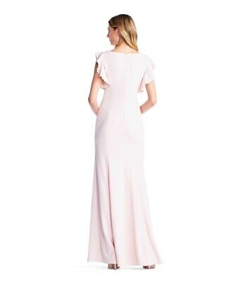 Adrianna Papell Womens Fluttered Short Sleeve Beaded Crepe Gown