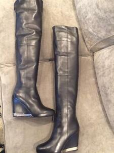 ca3e0fe9c39 CHANEL 15B Lambskin Leather Tall Over The Knee High Wedge Heel Boots ...