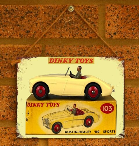 Vintage Tin Sign Dinky Austin Healey 100 Metal Sign