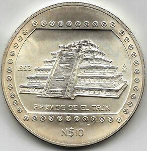 Mejico-10-Pesos-PIRAMIDE-DE-EL-TAJIN-1993-plata-5-onzas-PRECOLOMBINA