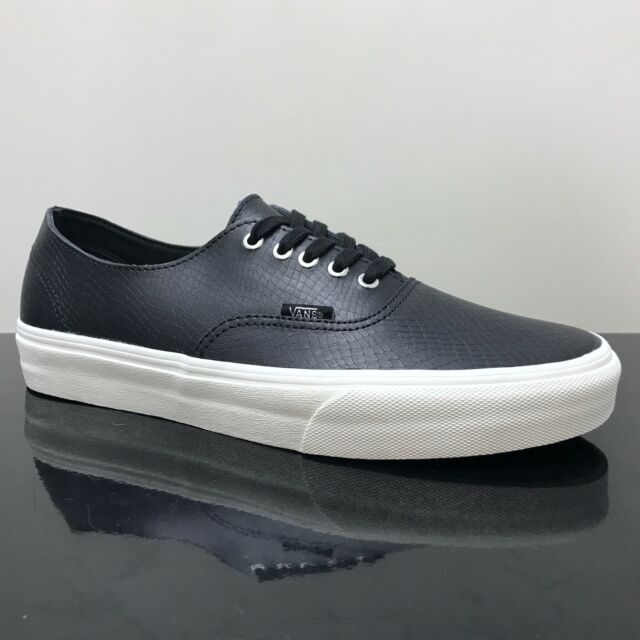 7617fcf47f VANS Authentic Mens Black Leather Lace up Trainers Shoes 7 40.5 for ...