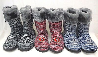 NFL Women's Peak Boots Slippers by Forever Collectibles Raiders Cowboys 49ers