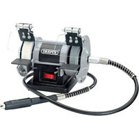 Draper Mini Bench Grinder With Flexible Drive Shaft 75mm Wheel 50w 240v