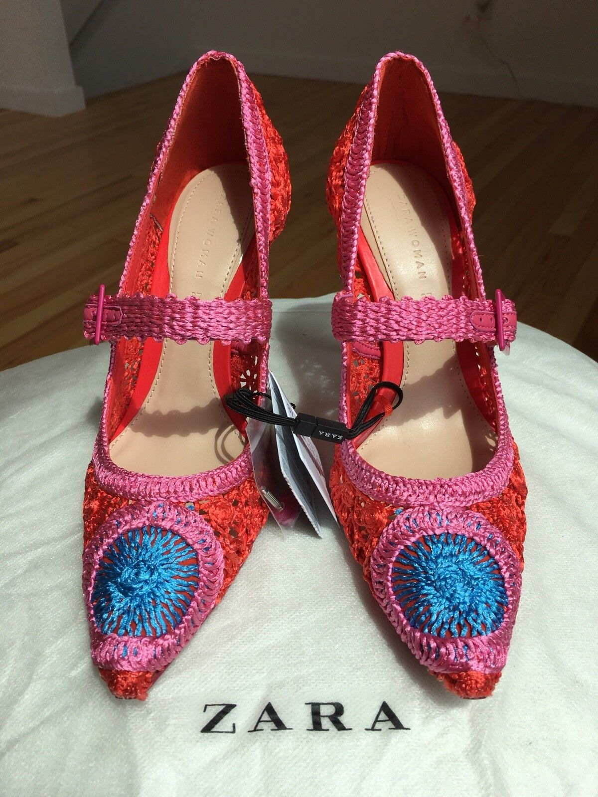 Zara Crochet High Heel Pumps Court shoes shoes shoes Red 6.5-NWT cf33bc