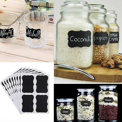36pcs Removable Chalkboard Blackboard Cup Jar Jam Label Wall Sticker Decal Tags