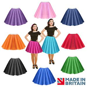 Ninas-Nino-1950s-Rock-N-Roll-Lunares-Falda-Vestido-Elaborado-Disfraz-de-grasa-de-danza