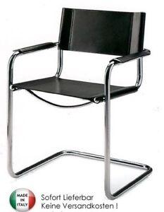 bauhaus stuhl freischwinger leder schwarz ebay. Black Bedroom Furniture Sets. Home Design Ideas