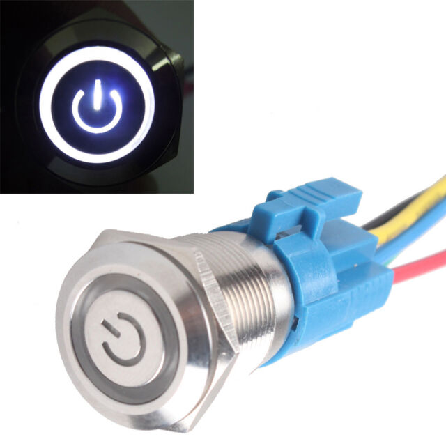 Black 12V 5A 19mm Car Purple LED Light Metal Push Button Toggle Switch Sales