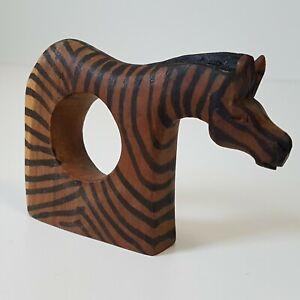 Vintage-Wooden-Zebra-Napkin-Ring-African-Animal-Mammal-Tribal-Decor
