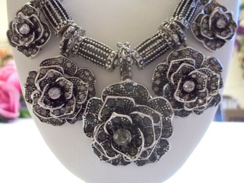 BETSEY JOHNSON BOHO TIBETAN STYLE SILVER MARQUISE ROSES WITH CRYSTAL NECKLACE