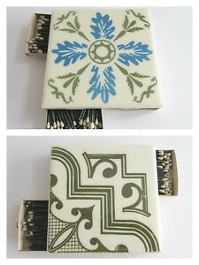 Match-Holder-Tile-Trivet-1960-039-s-Mid-Century-Modern-4-in-Square-2-sided-Ceramic