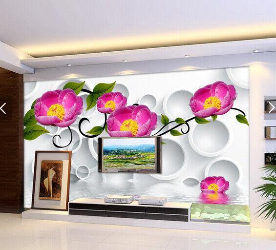 3D Purple Flowers 76 Wall Paper Murals Wall Print Wall Wallpaper Mural AU Lemon