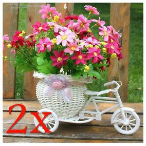 2x Set fiori triciclo Cestino Bicicletta Fiori Vaso Decorazione fiori vaso giardino
