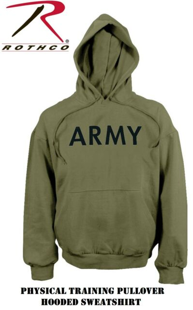5e1c052f Army Olive Drab Long Sleeve Physical Training Hooded Sweatshirt Rothco9172