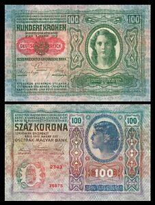 Austria-Hungary-100-kronen-korona-1912-P12-with-overprint