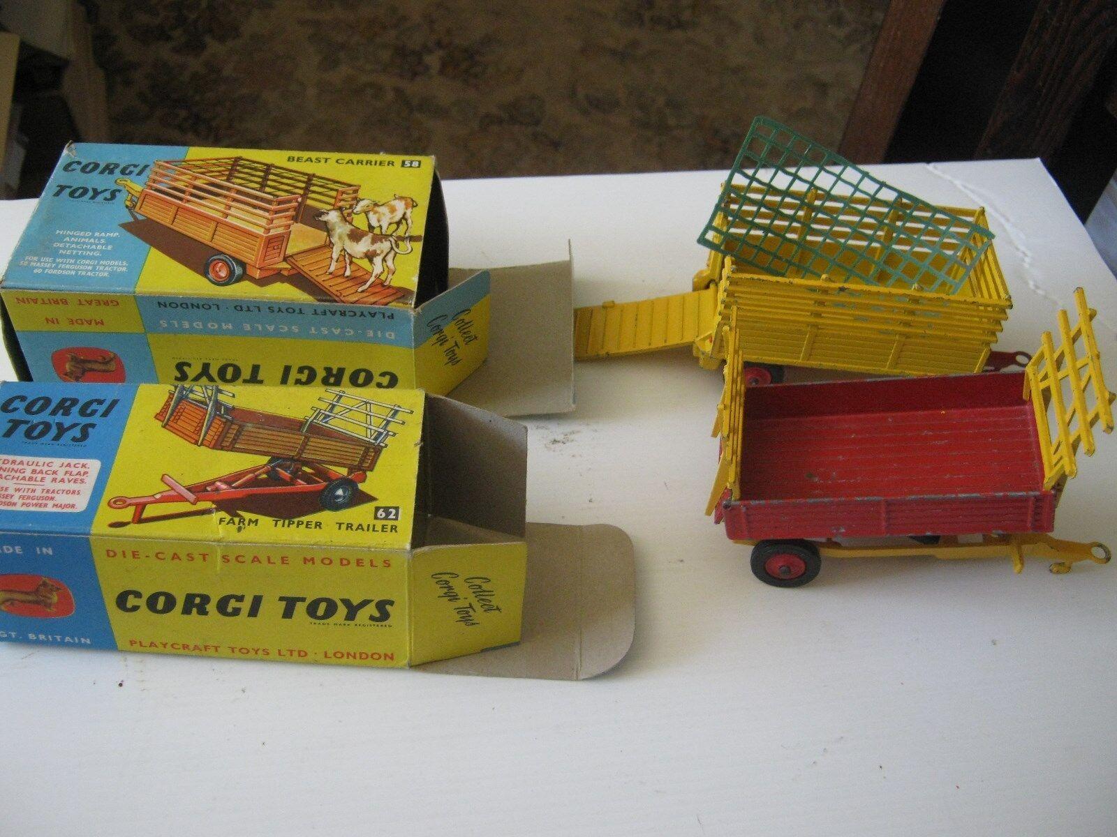 Corgi 62 58 landwirtschaftlichen original anhänger leicht playworn sehr gute original kisten