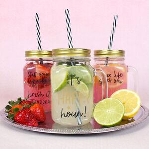 retro-verre-a-cocktail-Mason-bocal-avec-paille-Happy-Hour-jardin-verre-barbecue