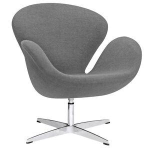 Swan Shaped Chair Cashmere Wool Swivel Mid Century Modern Lounge