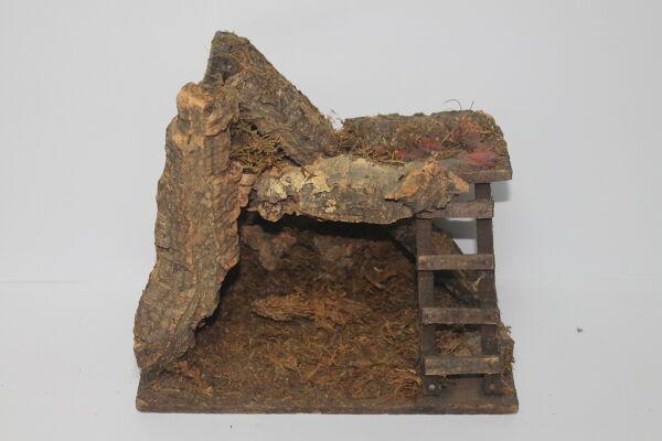 Brillante 74056 Presepe - Grotta In Legno E Sughero Per Natività - 22x14x22 H Cm Facile Da Riparare