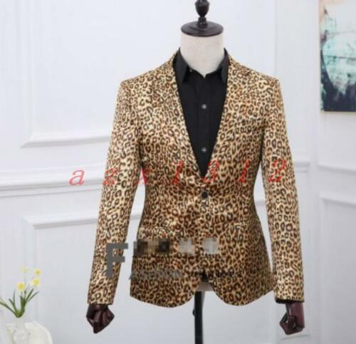 2PCS Leopard Men/'s Lapel Collar One Button Formal Dress Blazer Suits Jacket Pant