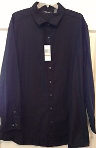 Mens-Shirt-Black-Axist-Collar-Points-Rounded-Hem-Textured-Fabric-S-S-NWT-4XLT-3X
