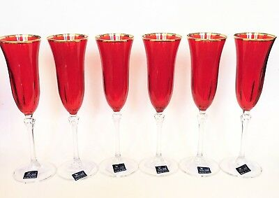 New Le Stelle Set Of 6 Ruby Red Clear Gold Trim Crystal Champagne Flute Gles Ebay