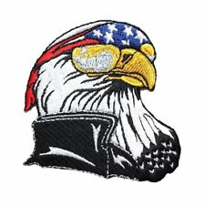 d284b7e1dca American Bald Eagle Biker Motorcycle Rider Embroidered Iron on Applique  Patch