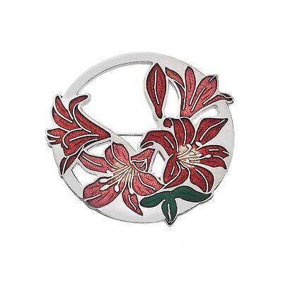 Pins & Brooches Jewelry & Watches Große Rote Lillien Brosche Versilbert Brandneu Geschenkverpackung