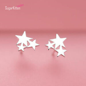 Solid-925-Sterling-Silver-Shine-Bright-3-Stars-Star-New-Design-Stud-Earrings
