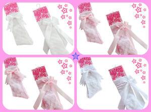 Girls-Spanish-Romany-Knee-Length-Socks-Short-or-Long-Bow-0-12-month-White-Pink