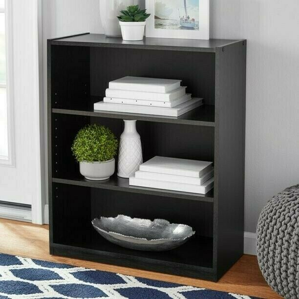 Bookshelf Bookcase Wood 3-Shelf Storage Book Display Shelving FREE SHIPPING