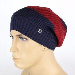New Gucci Blue Red Blue Wool Beanie Hat Interlocking G Detail 310777 ... bc396a9a26d